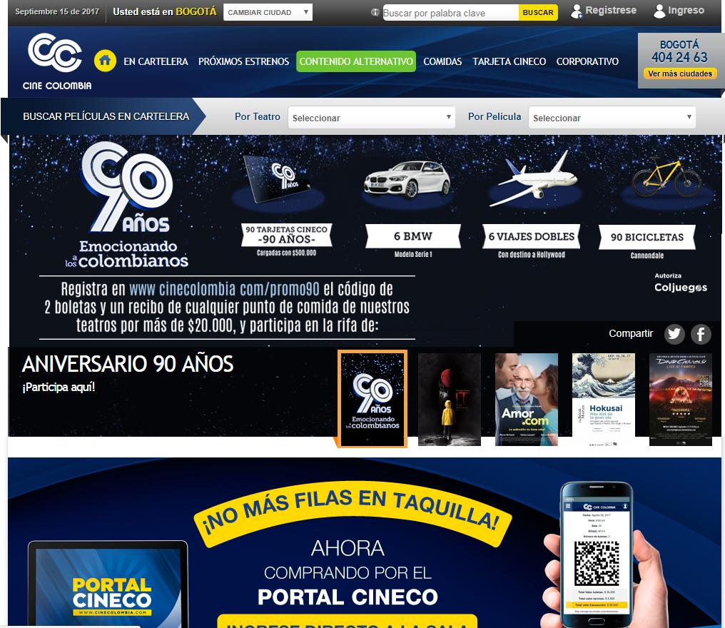 pagina de cine colombia