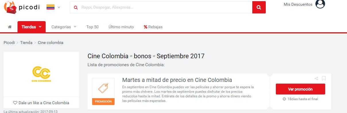 promociones Cine Colombia