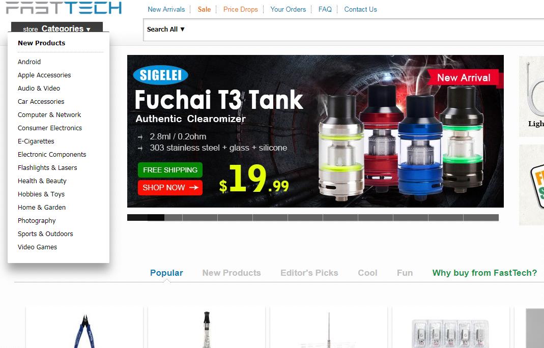 pagina principal de Fasttech