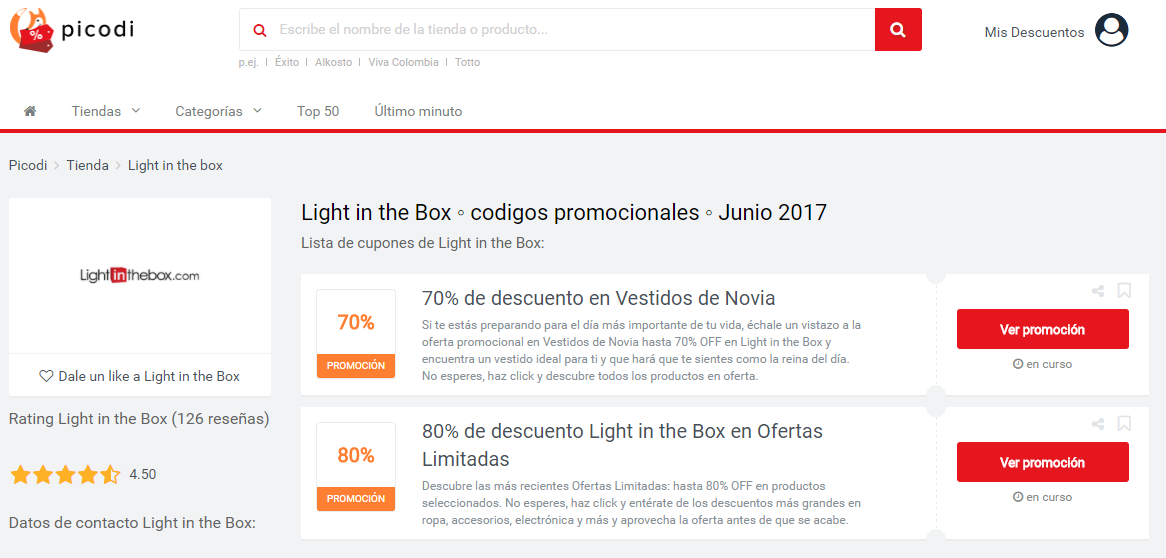 promociones light in the box