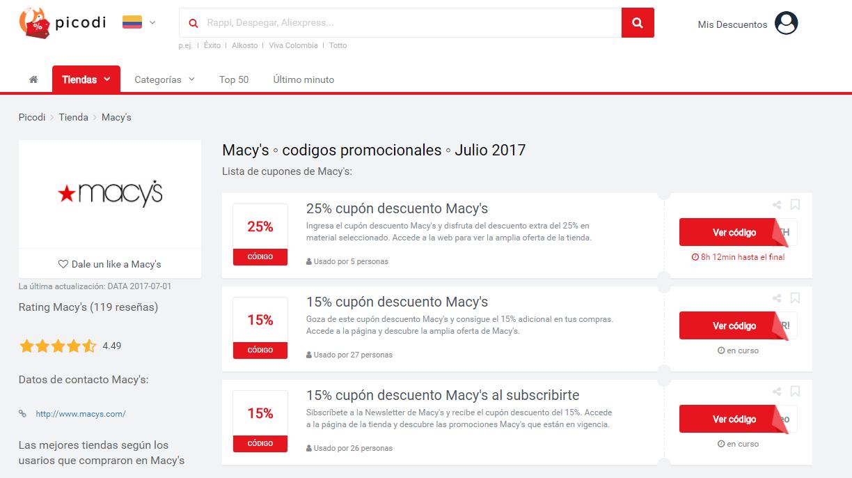 promociones y cupones Macys
