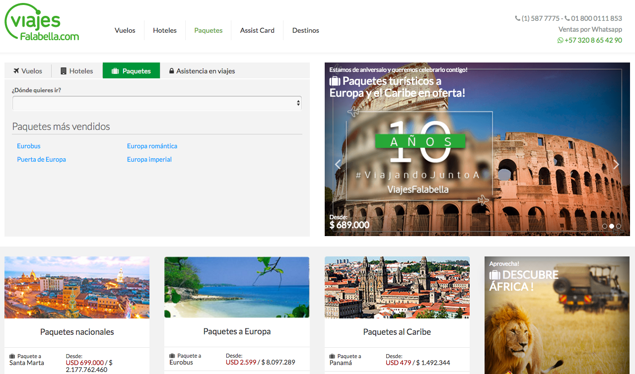 viajes falabella página