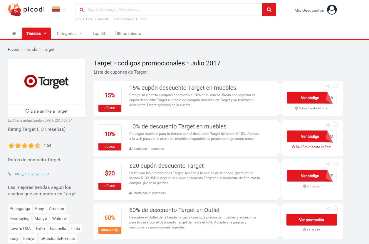 promociones y cupones Target
