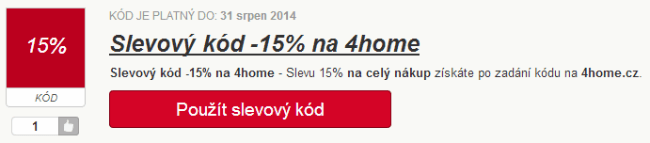 Slevový kód 15% na 4home