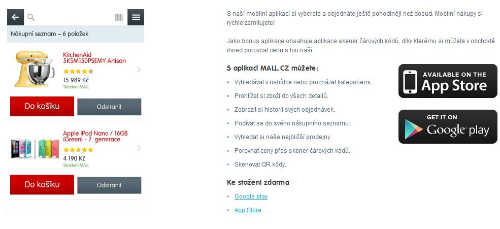 mobilní aplikace mall taki pro slevové kódy