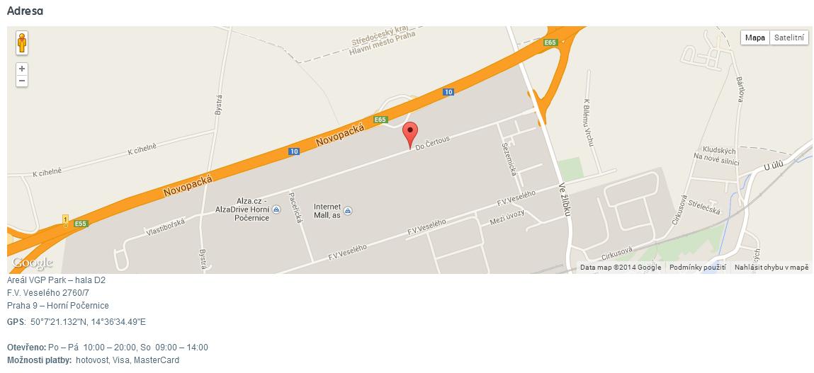 mapa distribuční centrum MALL
