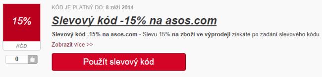 Slevový kód 15% na asos