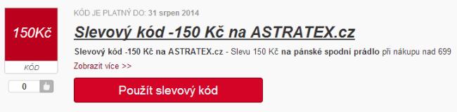 Slevový kód 150 Kč na ASTRATEX