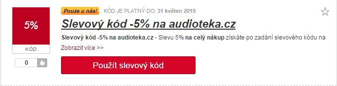 Výběr slevového kuponu audioteka.cz