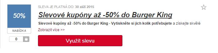 využití slevy burger king