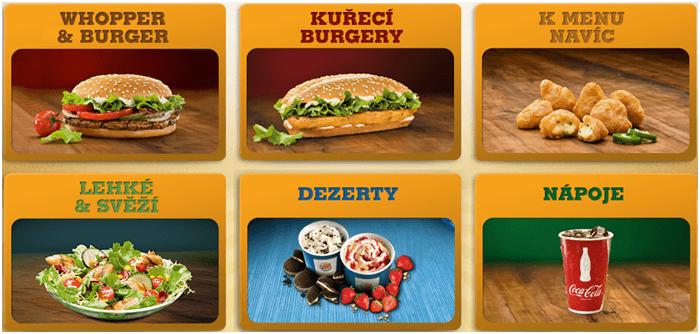 Slevové kódy na menu v Burger King