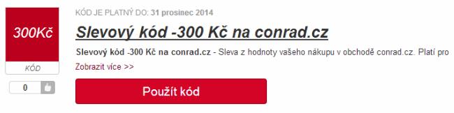Slevový kód 300 Kč na Conrad