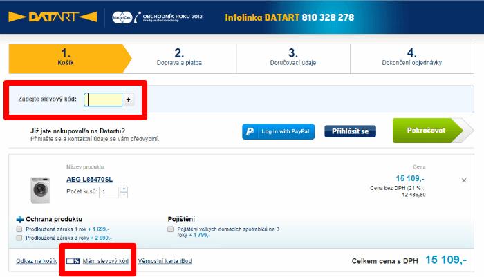 Jak použít slevový kód na datart.cz