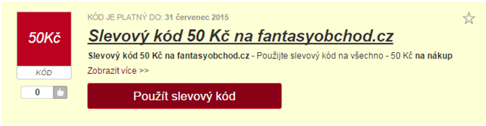Využití slevy na fantasyobchod.cz