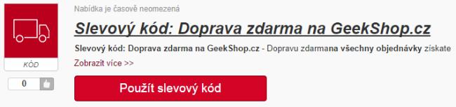 Slevový kupón Doprava zdarma z geekshop.cz