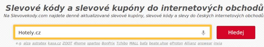 vyhledávaní slevového kupónu hotely.cz