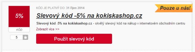 Slevový kód 5% na kokiskashop.cz