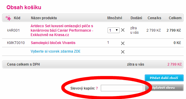 Jak použít slevový kupón na krasa.cz