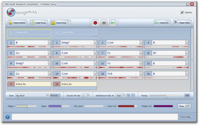 Uživatelské prostředí hudebního programu Songsmith