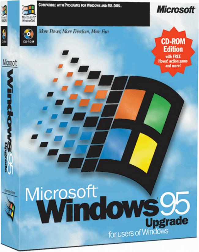 Krabice s legendárním operačním systémem Windows 95