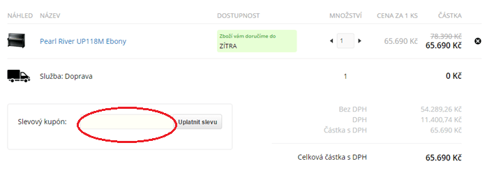Vložení slevového kódu na Muziker.cz