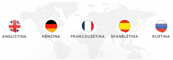 anglictina, němčina, francouzština, španělština a ruština online
