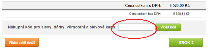 Vložení slevového kódu na onlineshop.cz
