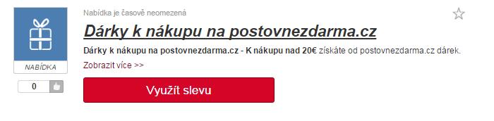 Využití slevy na postovnezdarma.cz