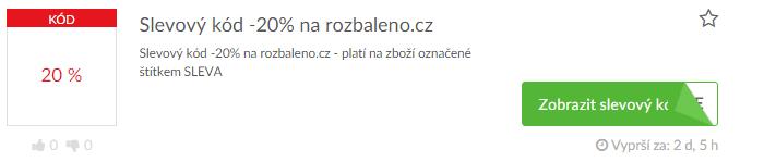 Využité slevového kódu rozbaleno.cz