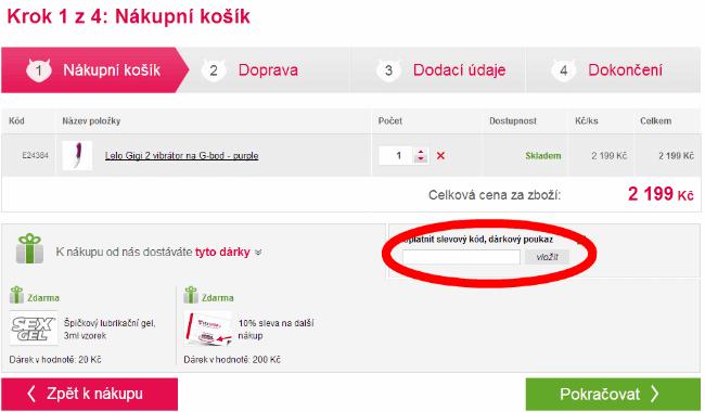 Jak uplatnit slevový kód na Sexshop.cz