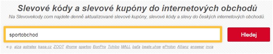 vyhledávaní slevových kupónů sportobchod.cz