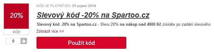 Slevový kupón 20% na spartoo