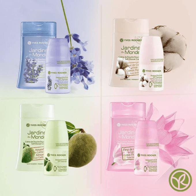 Různé varianty kompletu obsahující sprchový gel a deodorand. Dostupné na Yves-Rocher.cz