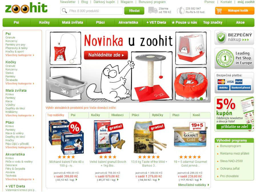 hlavní stránka zoohit.cz