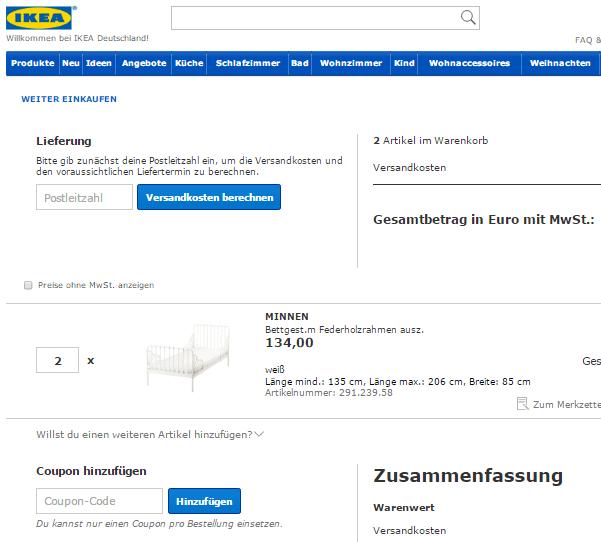 IKEA Warenkorb mit dem Feld Coupon Code zum einfügen des IKEA Gutschein