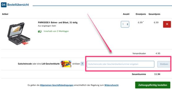 Ein Bild des Einkaufskorb, in dem man den Lidl Gutschein im Feld: Gutscheincode einlösen kann