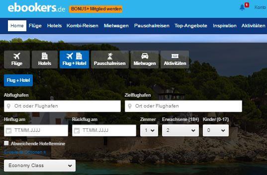 ebookers.de Suchleiste