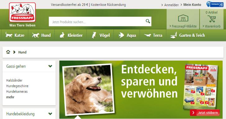 Produkte für Hunde bei Fressnapf