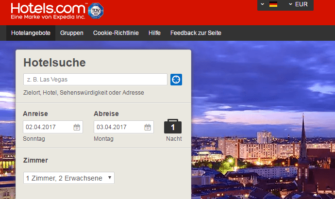 Die Hotels.com Hauptseite