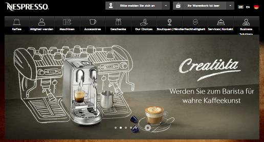 Nespresso Hauptseite