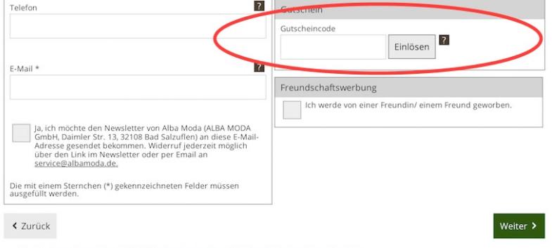 Eine Beispielbestellung mit dem Feld: Gutscheincode, in dem man den Alba Moda Gutschein einlösen kann