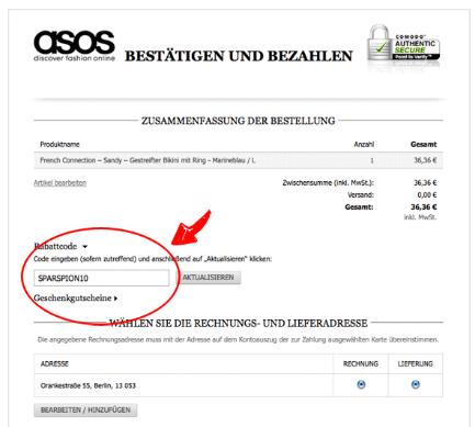 asos Aktionscode - das markierte Feld im Bestellungsprozess