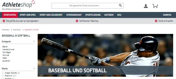 Baseball Sortiment bei Athleteshop