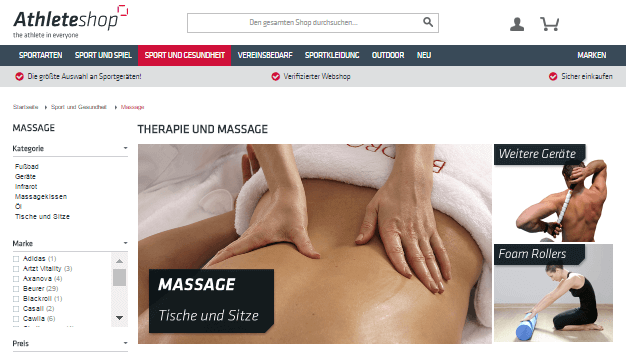 Therapie und Massage Sortiment bei Athleteshop