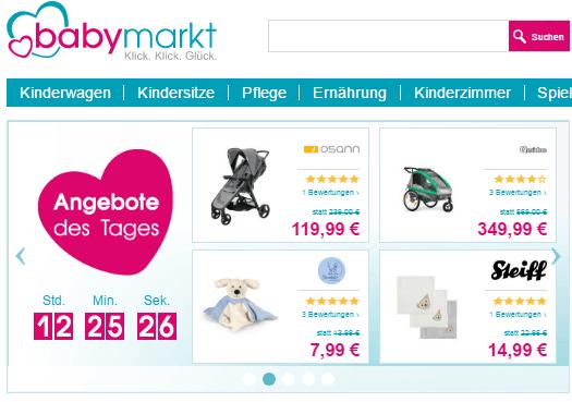 Die babymarkt Hauptseite