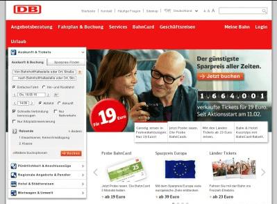 Deutsche Bahn Webseite mit tollen Angeboten, Rabatten und Gutscheinen für Kunden