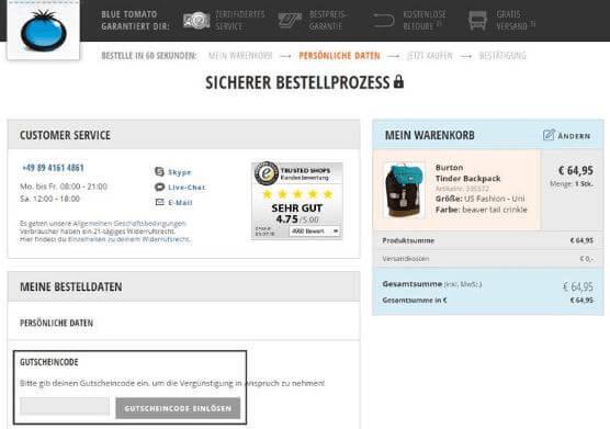 Eine Beispiel Bestellung mit einem blue-tomato.com Gutscheincode