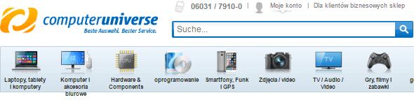 Computeruniverse Produktkategorien aus der Webseite