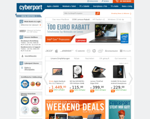 Das Elektronikeinzelhandel Cyberport Online-Shop