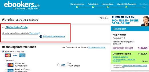 Eine Beispiel Bestellung mit einem ebookers.de Gutscheincode